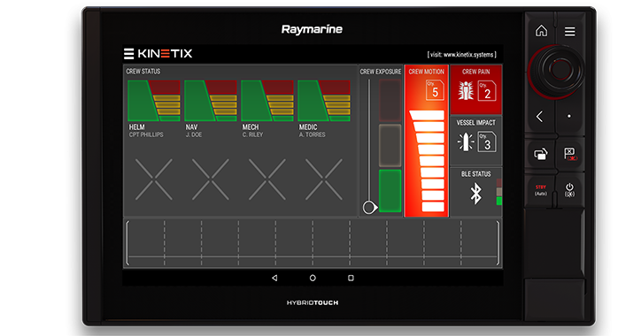 Shock monitoring Kinetix software available on Raymarine Axiom MFDs