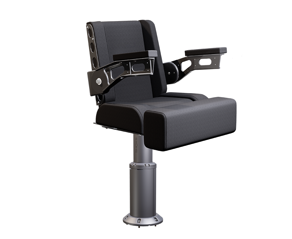 Shoxs 3700 x8 boat shock mitigation suspension helm seat gray